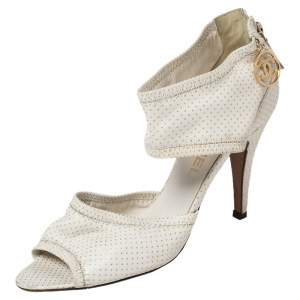 Chanel White Leather Open Toe Ankle Strap Sandals Size 37