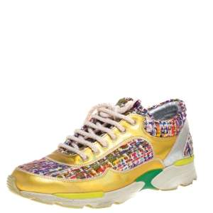 Chanel Multicolor Tweed, and Metallic Leather Lace Up Sneakers Size 37