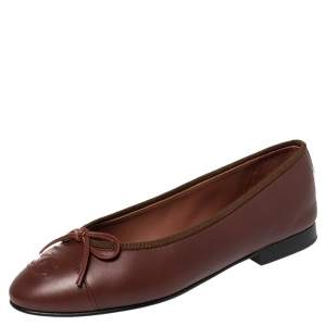 Chanel Brown Leather CC Bow Ballet Flats Size 36
