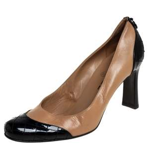 Chanel Beige/Black Leather And Patent Leather Pumps Size 38