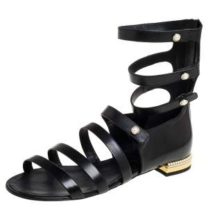 Chanel Black Leather Faux Pearl Embellished Strappy Flat Sandals Size 41