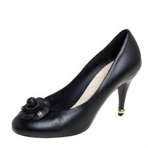 Chanel Black CC Camellia Leather Pumps Size 38.5