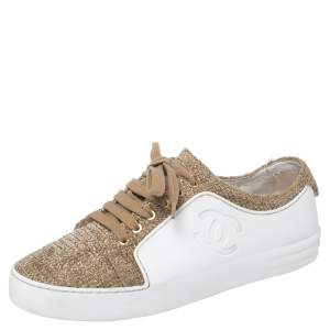 Chanel White/Gold Rubber And Tweed Fantasy Sneakers Size 37