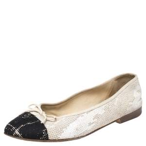 Chanel White/Black Tweed And Fabric Cap Toe CC Bow Ballet Flats Size 39