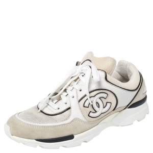 Chanel White Mesh And Suede CC Low-Top Sneakers Size 38.5