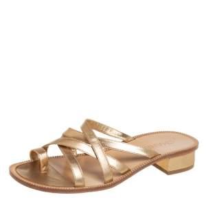 Chanel Gold Leather CC Slide Sandals Size 39