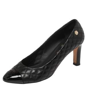 Chanel Black Quilted Leather CC Cap Toe Pumps Size 40.5