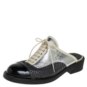 Chanel Tricolor Patent Leather and Leather  Lace Up Slip On Mules Size 41