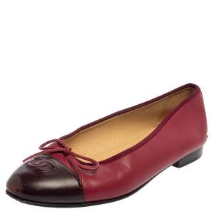Chanel Burgundy Leather CC Bow Ballet Flats Size 39