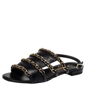 Chanel Black Leather Chain Slingback Sandals Size 36