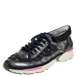 Chanel Black Tweed And PVC CC Low Top Sneakers Size 40