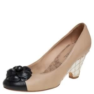 Chanel Beige/Black Leather Camellia Cork Wedge Pumps Size 36.5