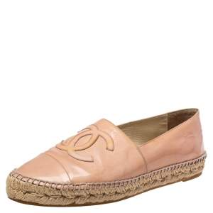 Chanel Pink Patent Leather CC Espadrille Flats Size 41