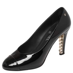 Chanel Black Patent Leather Pearl Embellished Pumps Size 37.5