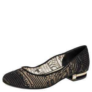 Chanel Black Lace Ballet Flats Size 37