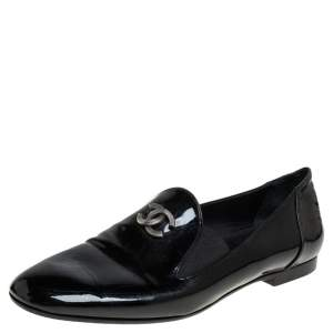 Chanel Black Patent Leather CC Smoking Slippers Size 37.5