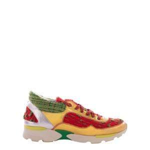 Chanel Multicolor Tweed Tennis Sneakers Size EU 38