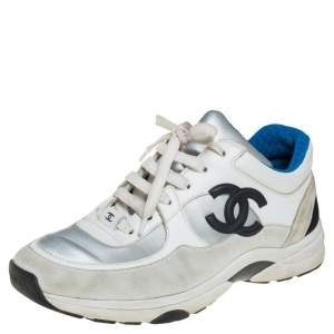 Chanel White/Grey Suede, Leather And Fabric CC Low-Top Sneakers Size 38.5