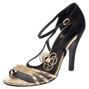Chanel Metallic Gold/Black Satin And Leather Embellished Camellia Sandals Size 39