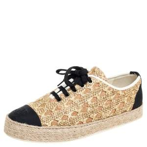 Chanel Beige/Black Raffia And Canvas Espadrille Sneakers Size 39