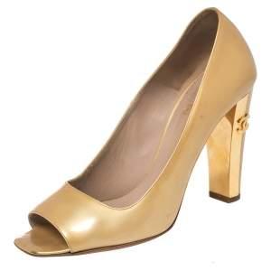 Chanel Gold Patent Leather CC Block Heel Peep Toe Pumps Size 38.5