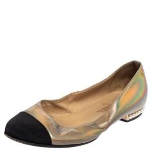 حذاء باليرينا فلات شانيل كانفاس وجلد أسود/ رمايد مقاس 37.5