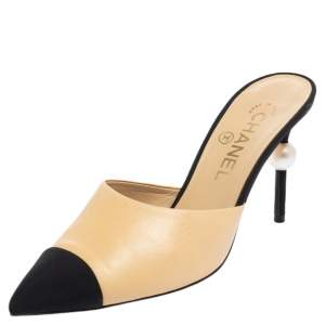 Chanel Beige/Black Leather And Canvas Mule Sandals Size 38