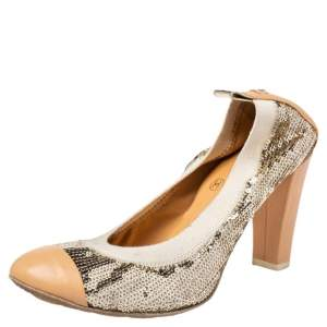 Chanel Gold/ Beige Leather And Sequin CC Pumps Size 35.5