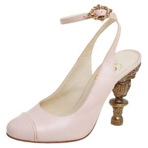 Chanel Pink Leather Baroque Heel Ankle Strap Sandals Size 36