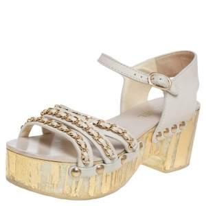 Chanel Cream Leather Platform Ankle Strap Sandals Size 38