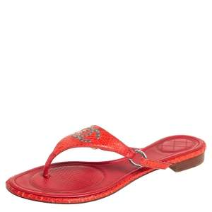 Chanel Red Python CC Flat Thong Sandals Size 39.5
