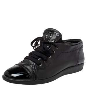 Chanel Black Patent And Leather CC Sneakers Size 38.5