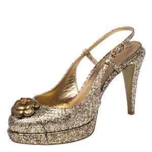 Chanel Metallic Multicolor Python Leather Camellia CC Slingback Platform Sandals Size 39