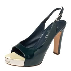 Chanel Teal Blue Patent Leather Platform Open Toe Slingback Sandals Size 39.5