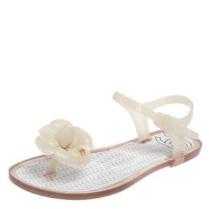 Chanel White Jelly CC Camellia Flower Thong Flats Size 35