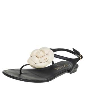 Chanel Black Leather Camellia CC Flat Sandals Size 35.5