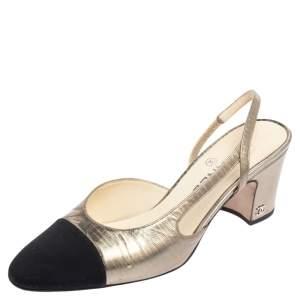 Chanel Metallic Silver Leather CC Cap Toe Slingback Pumps Size 39