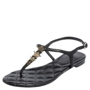 Chanel Black Leather Star Embellished Ankle Strap Flat Thong Sandals Size 35