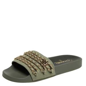 Chanel Grey Fabric Tropiconic Chain Detail Flat Slides Size 38