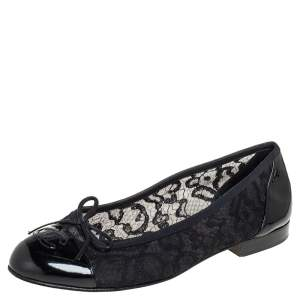 Chanel Black Patent Leather And Lace Ballet Flats Size 38