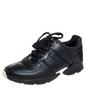 Chanel Black Leather And Satin CC Low Top Sneakers Size 38