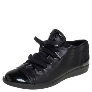 Chanel Black Patent Leather Low Top Sneakers Size 38