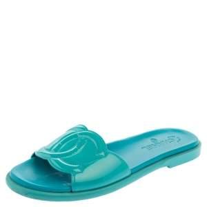 Chanel Blue Patent Leather CC Flat Slide Sandals Size 41