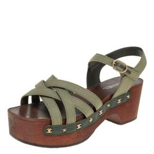 Chanel Green Fabric Star And CC Studded Wooden Clog Ankle Strap Sandals Size 41
