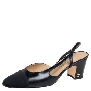 Chanel Black Fabric And Leather CC Cap Toe Slingback Sandals Size 38