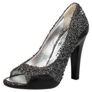 Chanel Silver Black/Silver Lurex Fabric And Leather CC Peep Toe Pumps Size 36