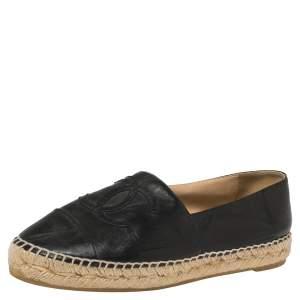 Chanel Black Leather CC Espadrille Flats Size 37