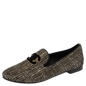 Chanel Shimmery Black Fabric CC Smoking Slippers Size 36.5