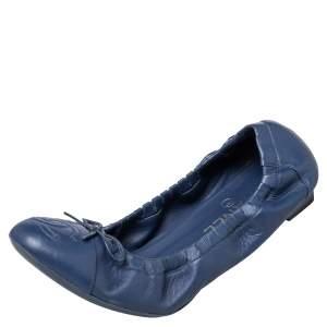 Chanel Blue Leather CC Bow Scrunch Ballet Flats Size 39