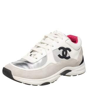 حذاء رياضي شانيل جلد وسويدي متعدد الألوان عنق منخفض CC مقاس 39
